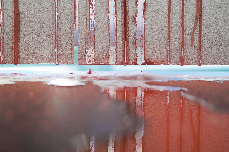 Robert andrew - Information Transfer #3 -Aluminium, acrylic, ochre, chalk, water, electromechanical devices - 265 x 250 x 70 cm 1-